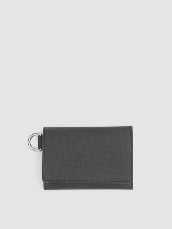 Small London Check Folding Wallet in Dark Charcoal