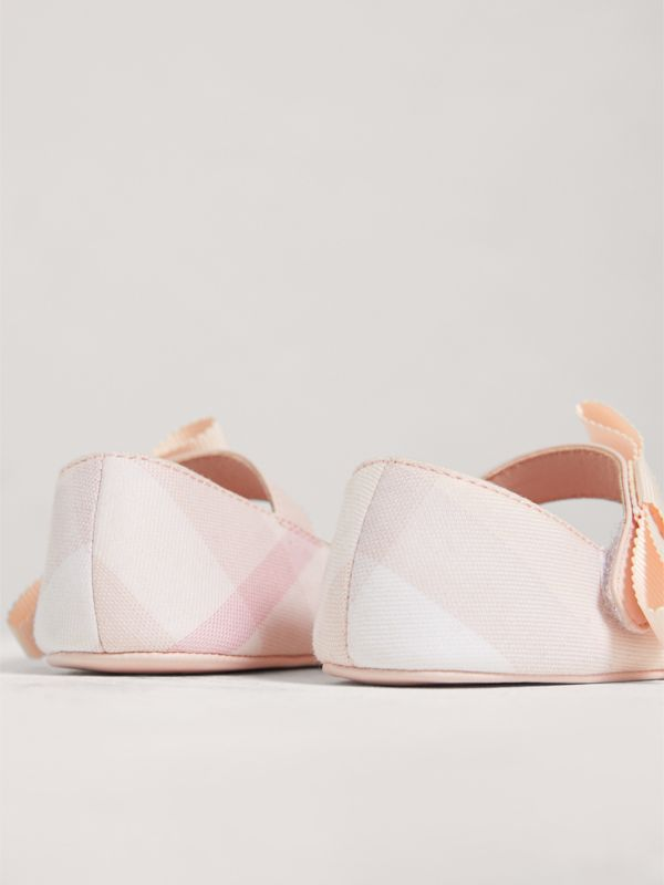 Bow Detail Check Cotton and Leather Ballerinas in Ice Pink   Burberry - cell image 2