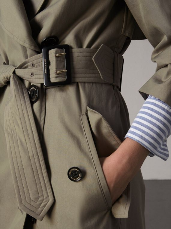 Tropical Gabardine Trench Coat in Slate Green - Women | Burberry Singapore - cell image 3