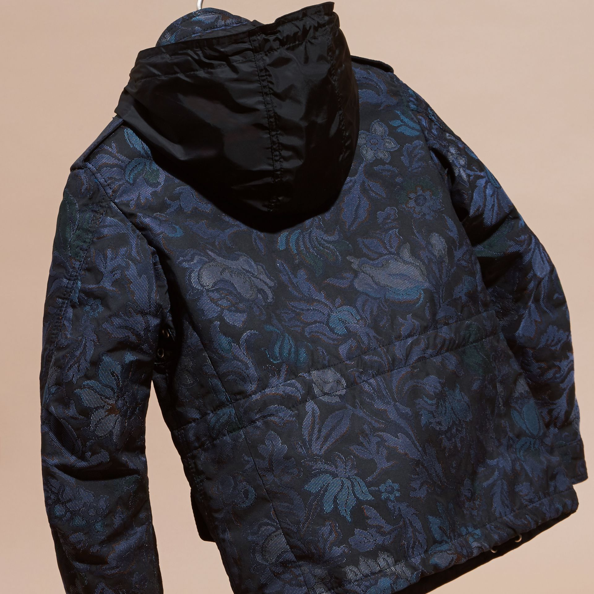 Navy Floral Jacquard Field Jacket with Packaway Hood - gallery image 6
