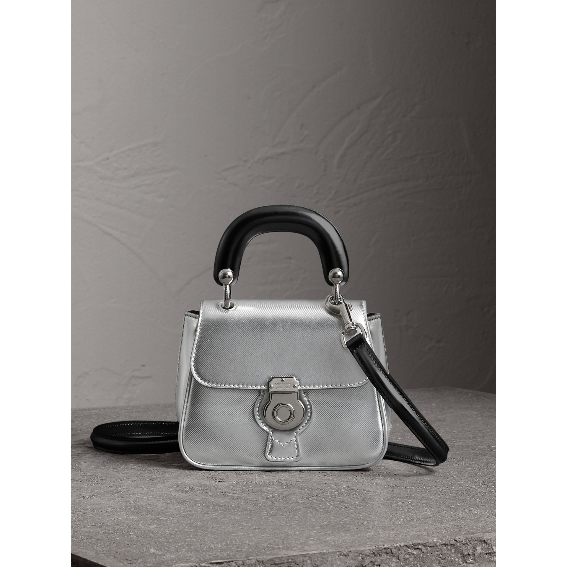 The Mini DK88 Top Handle Bag in Metallic Leather in Silver - Women | Burberry Canada - gallery image 0
