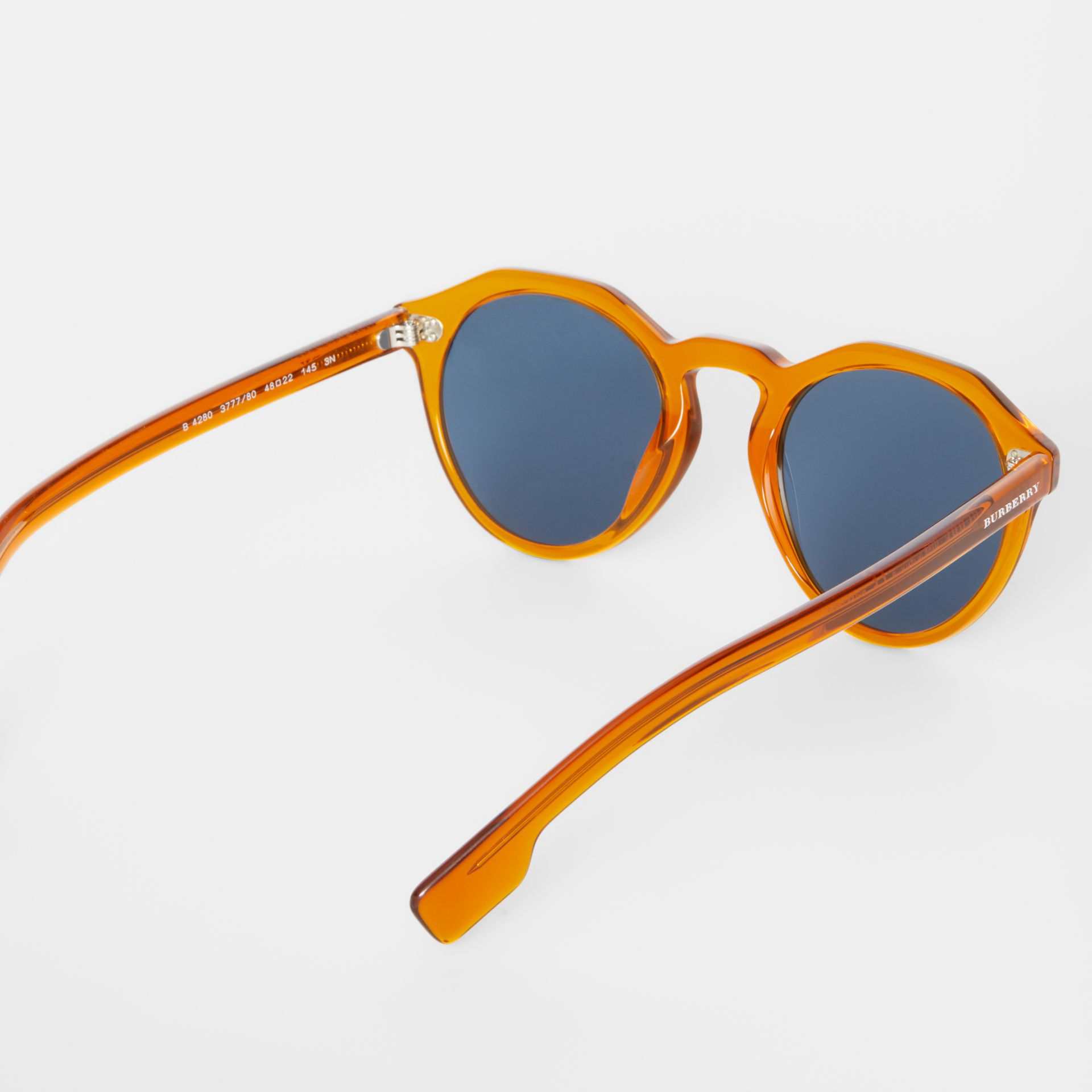 Keyhole Round Frame Sunglasses in Orange - Men | Burberry United Kingdom - gallery image 4