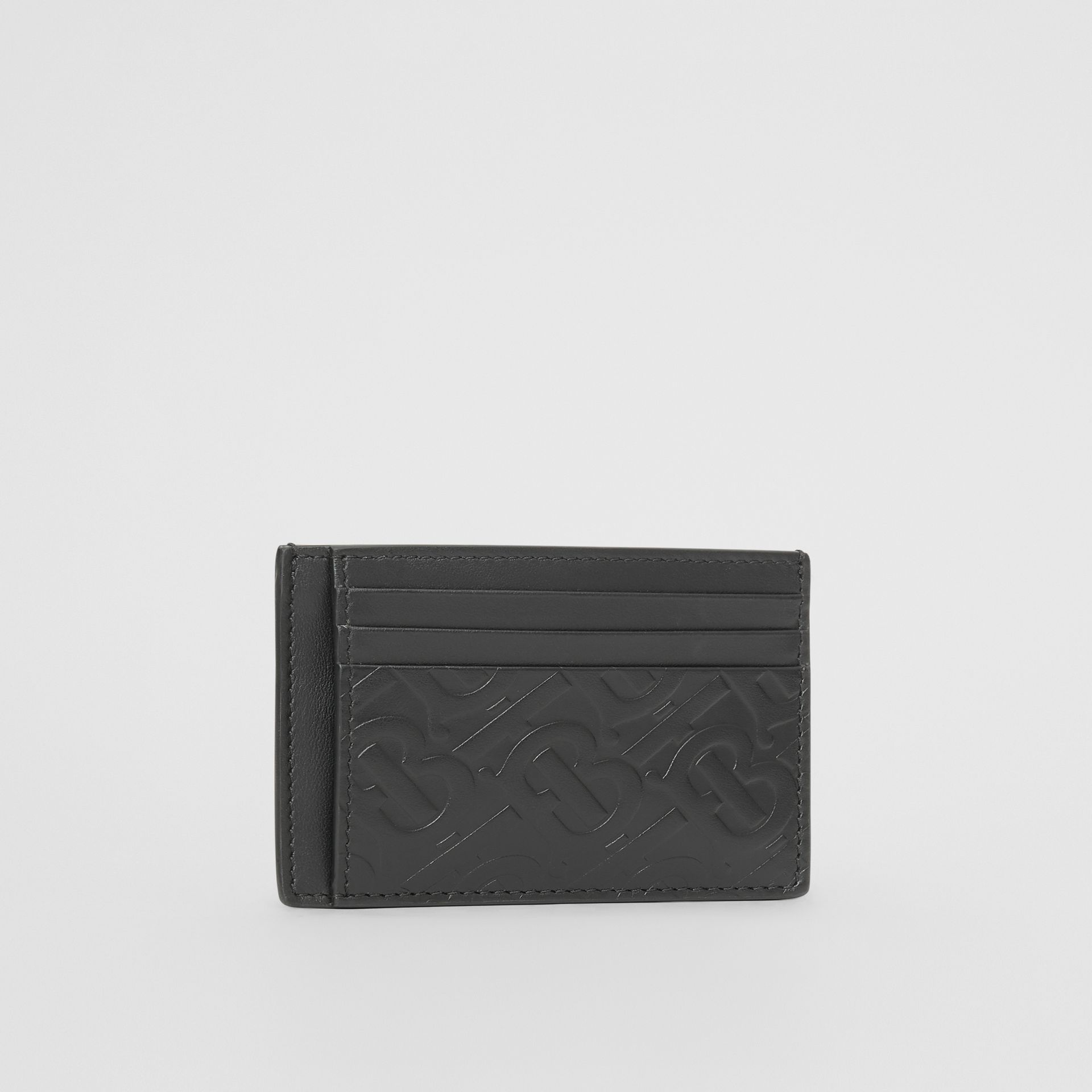 Monogram Leather Money Clip Card Case in Black - Men | Burberry United States - gallery image 3