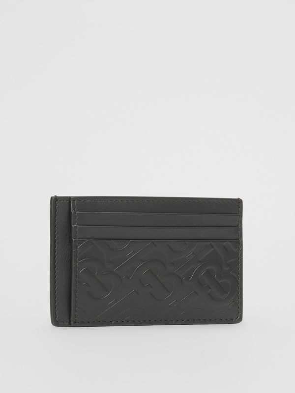 Monogram Leather Money Clip Card Case in Black - Men | Burberry United States - cell image 3