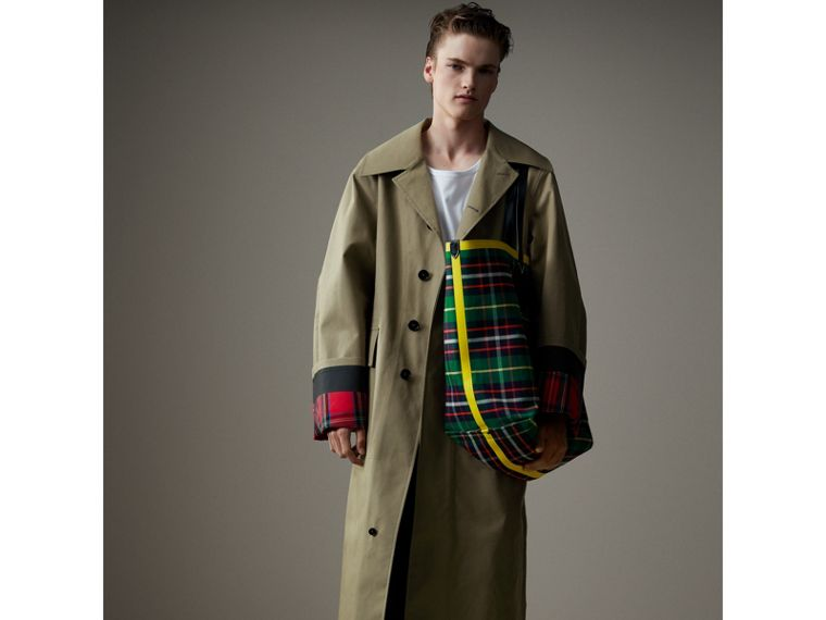 Bonded Cotton Oversized Seam-sealed Car Coat in Pale Olive/bright Red - Men | Burberry - cell image 4