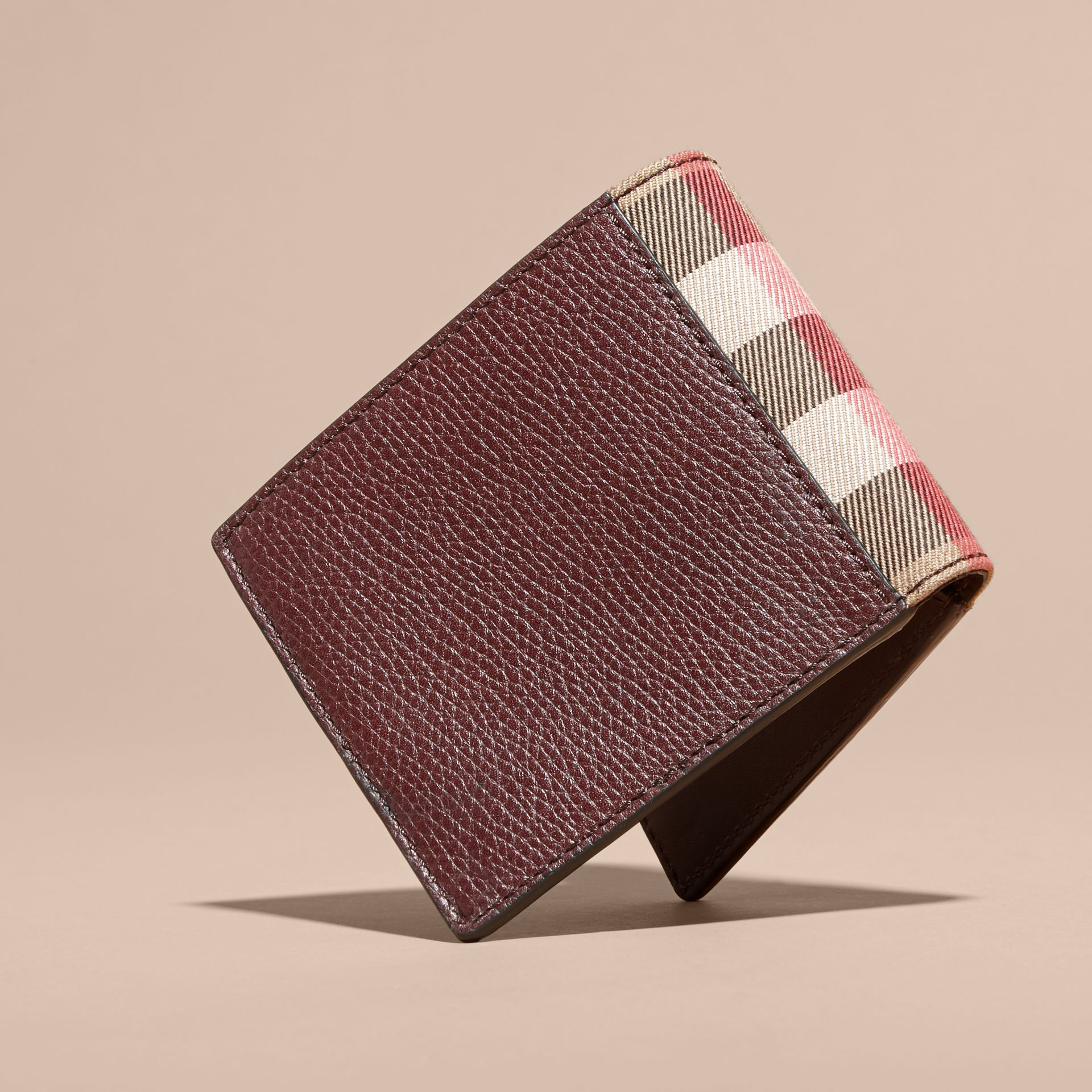 Leather and House Check International Bifold Wallet in Wine - gallery image 3