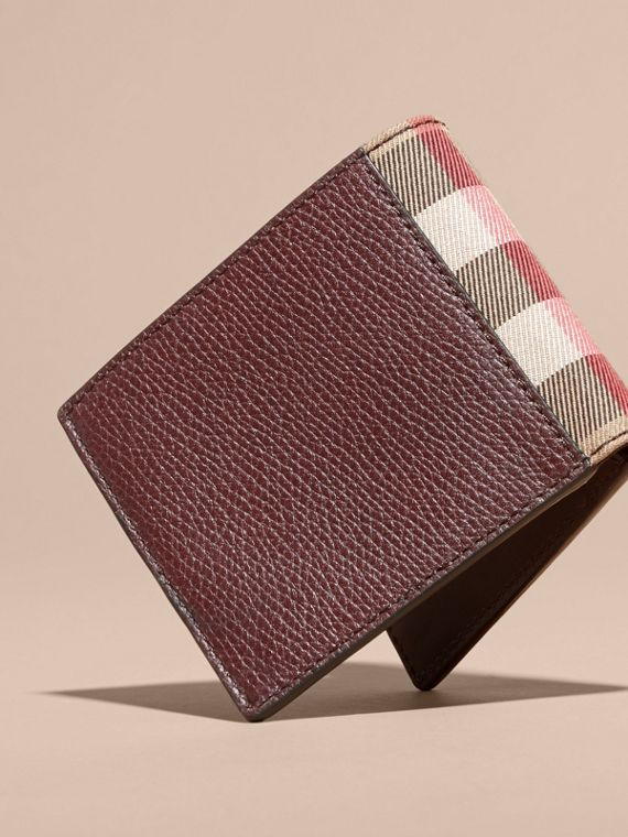 Leather and House Check International Bifold Wallet in Wine | Burberry - cell image 2