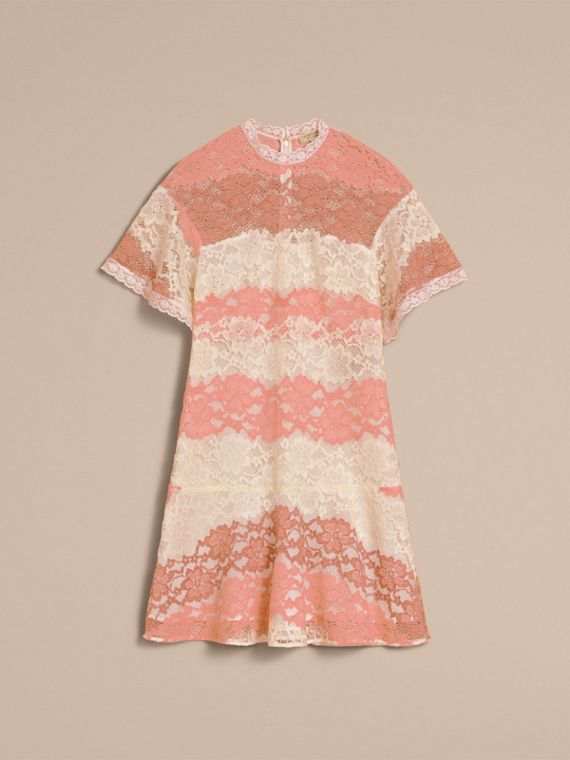 Floral Lace Dress with Flutter Sleeves Dusty Pink - cell image 3