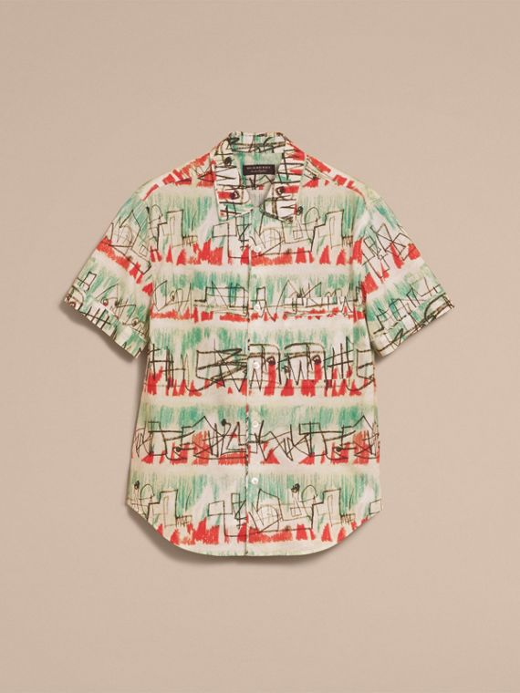 Short-sleeve Abstract Lines Print Cotton Shirt in Pale Tourmaline - Men | Burberry - cell image 3