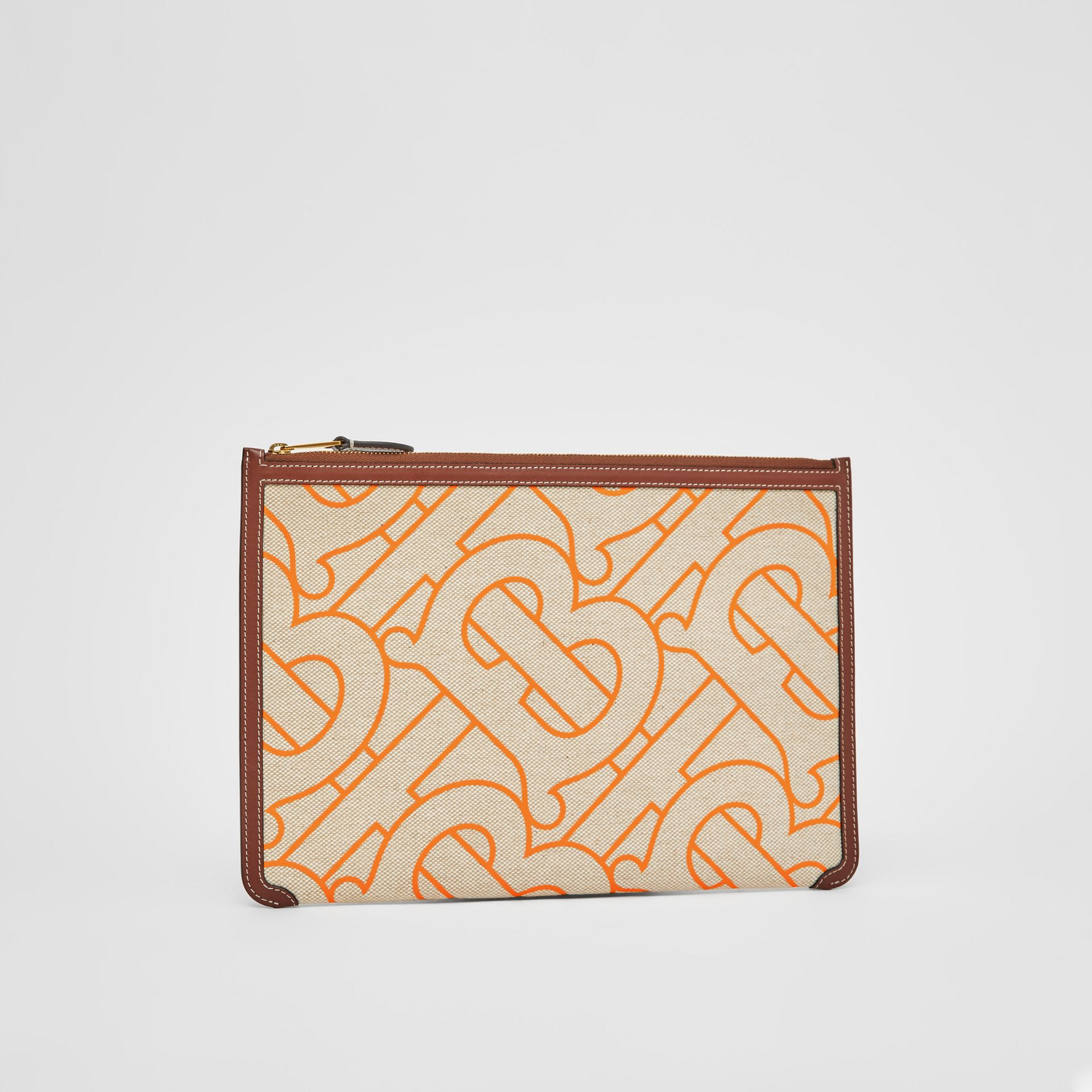 Monogram Motif Canvas and Leather Pouch in Natural/orange - Women | Burberry United Kingdom - gallery image 5