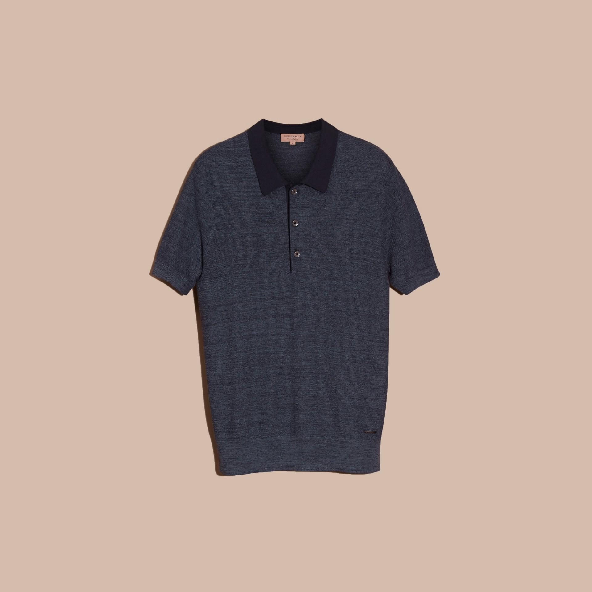 Bright steel blue Camisa polo de seda leve - galeria de imagens 3