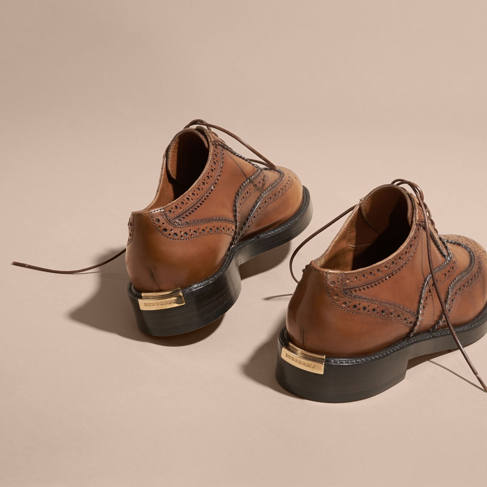 Leather Wingtip Brogues in Bright Camel - Women | Burberry Singapore - gallery image 4