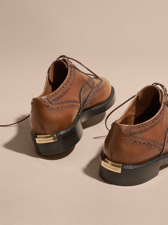 Leather Wingtip Brogues in Bright Camel - Women | Burberry Singapore - cell image 3