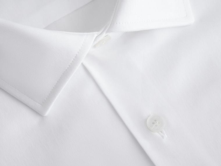 Modern Fit Stretch Cotton Shirt in White - Men | Burberry - cell image 1