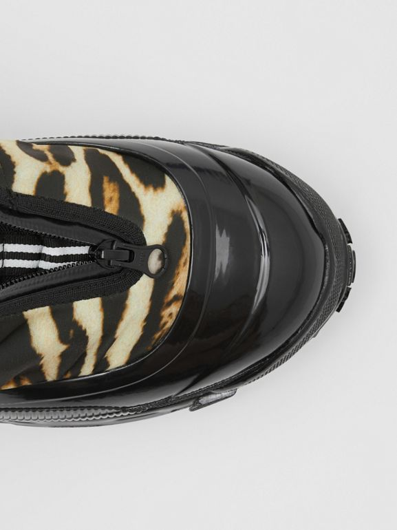 Leopard Print Nylon and Suede Arthur Sneakers in Camel | Burberry - cell image 1