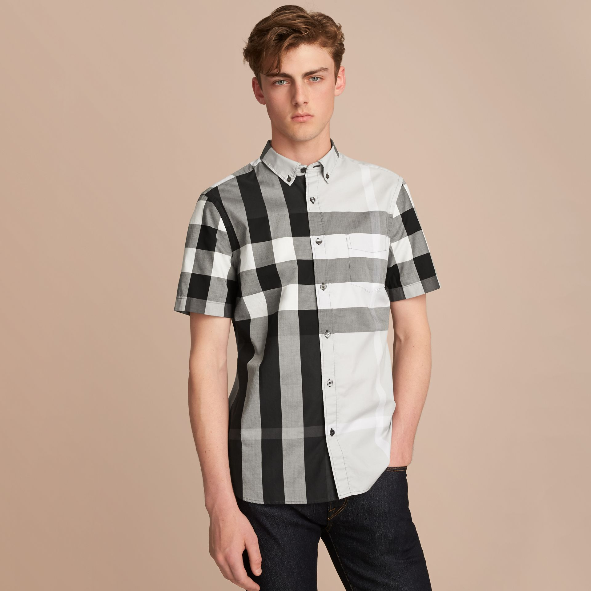 Button-down Collar Short-sleeve Check Cotton Shirt in Light Grey - Men | Burberry - gallery image 6