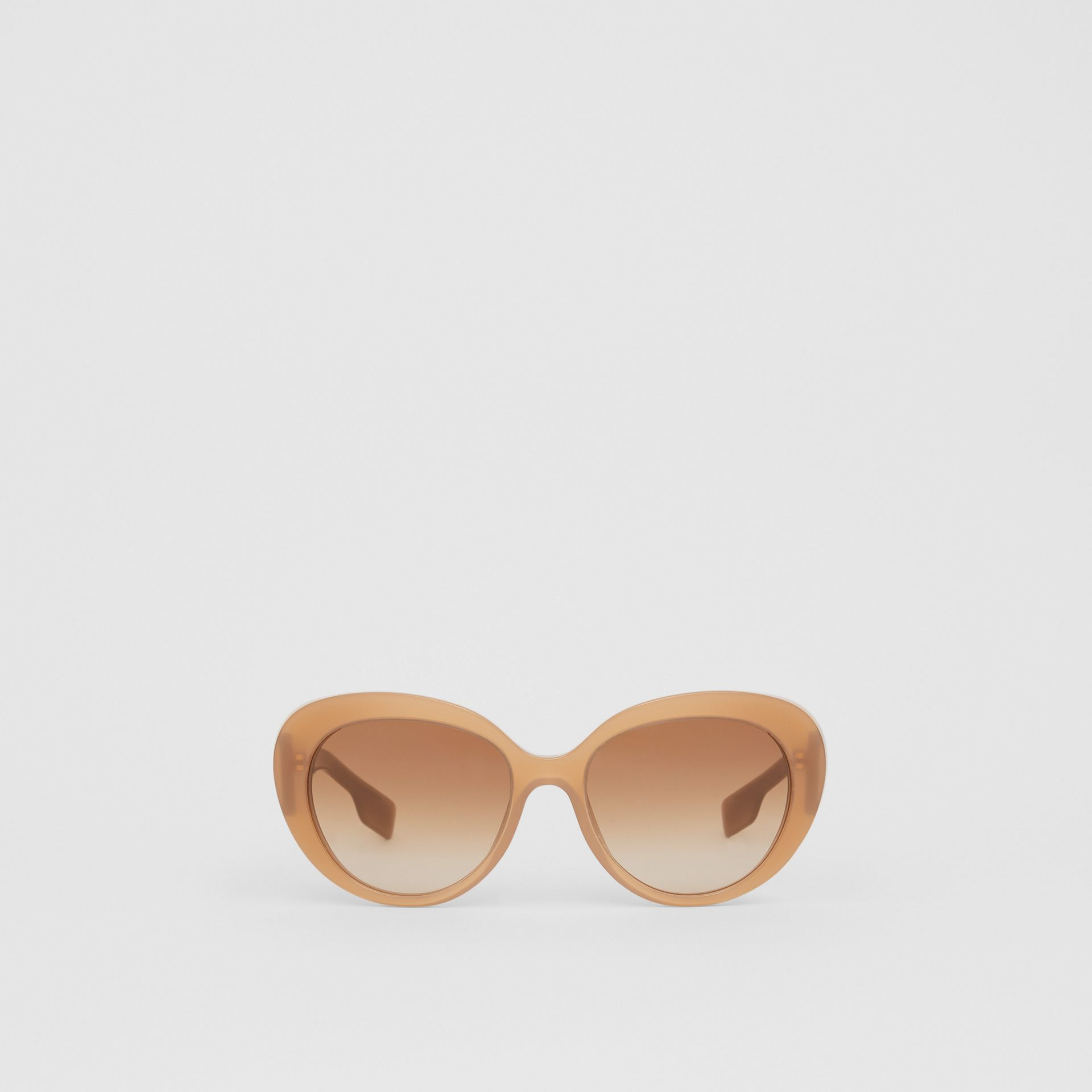 Monogram Motif Cat-eye Frame Sunglasses in Warm Camel - Women | Burberry United Kingdom - gallery image 0