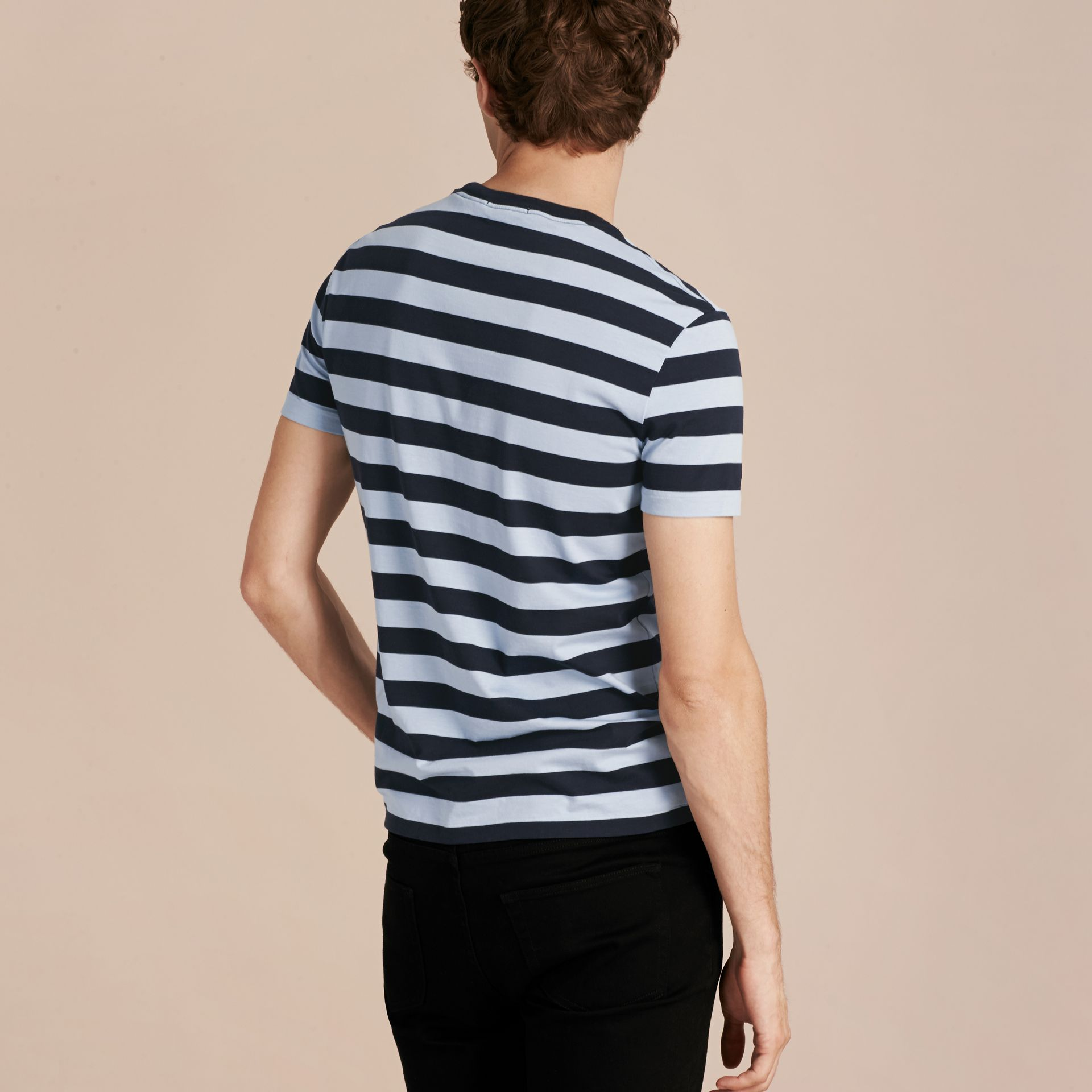 Navy Striped Cotton T-Shirt Navy - gallery image 2