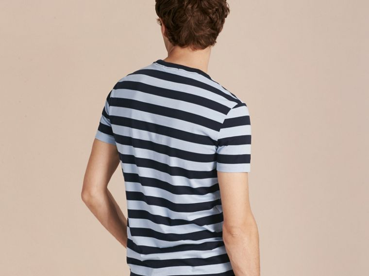 Navy Striped Cotton T-Shirt Navy - cell image 1