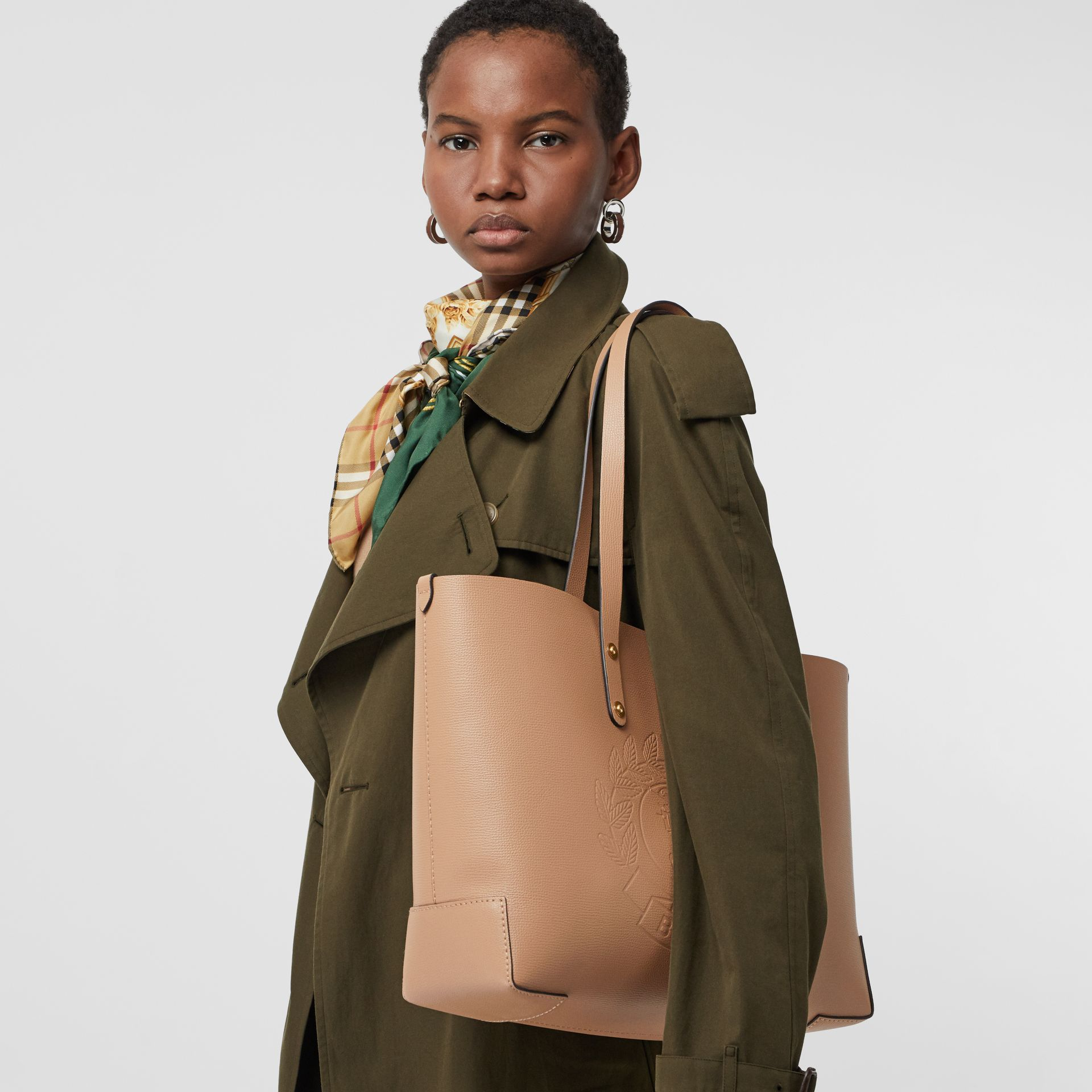 Small Embossed Crest Leather Tote in Light Camel - Women | Burberry United Kingdom - gallery image 3