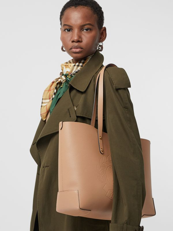 Small Embossed Crest Leather Tote in Light Camel - Women | Burberry - cell image 3