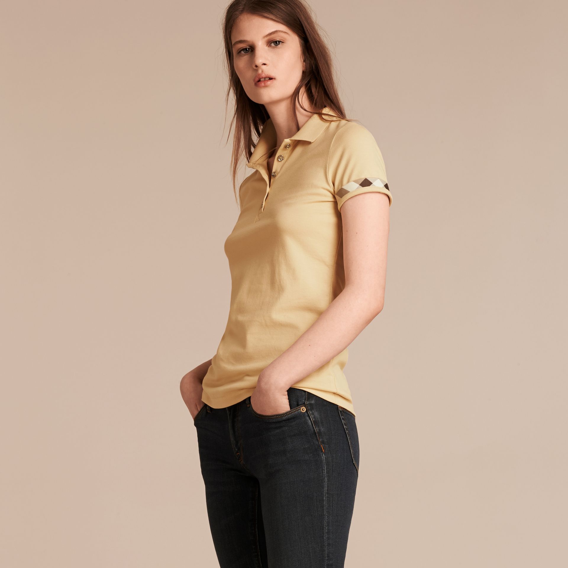 Pale lemon Check Trim Stretch Cotton Piqué Polo Shirt Pale Lemon - gallery image 1