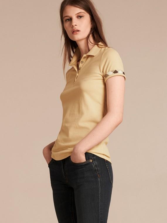 Check Trim Stretch Cotton Piqué Polo Shirt Pale Lemon