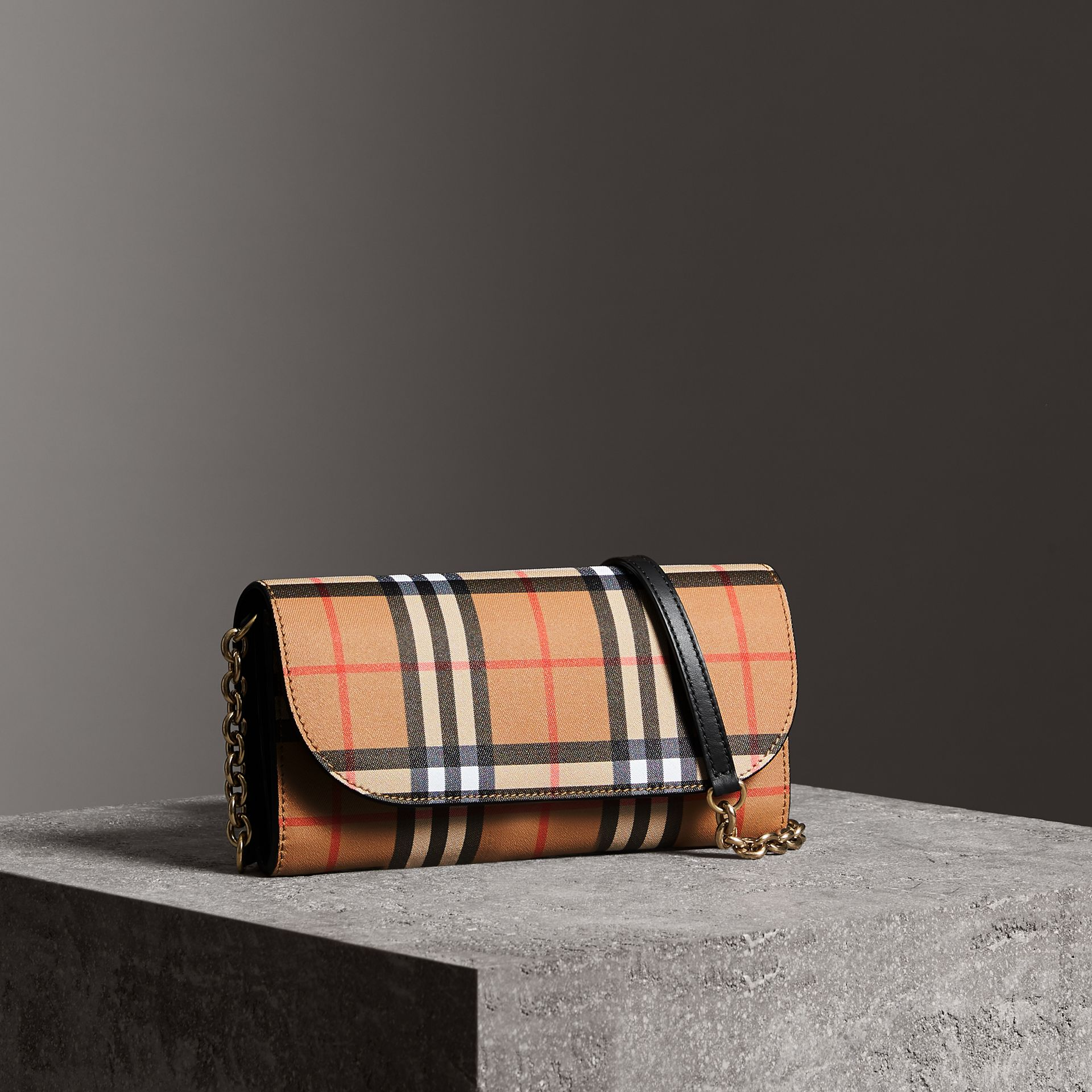 Vintage Check and Leather Wallet with Chain in Black - Women | Burberry - gallery image 0