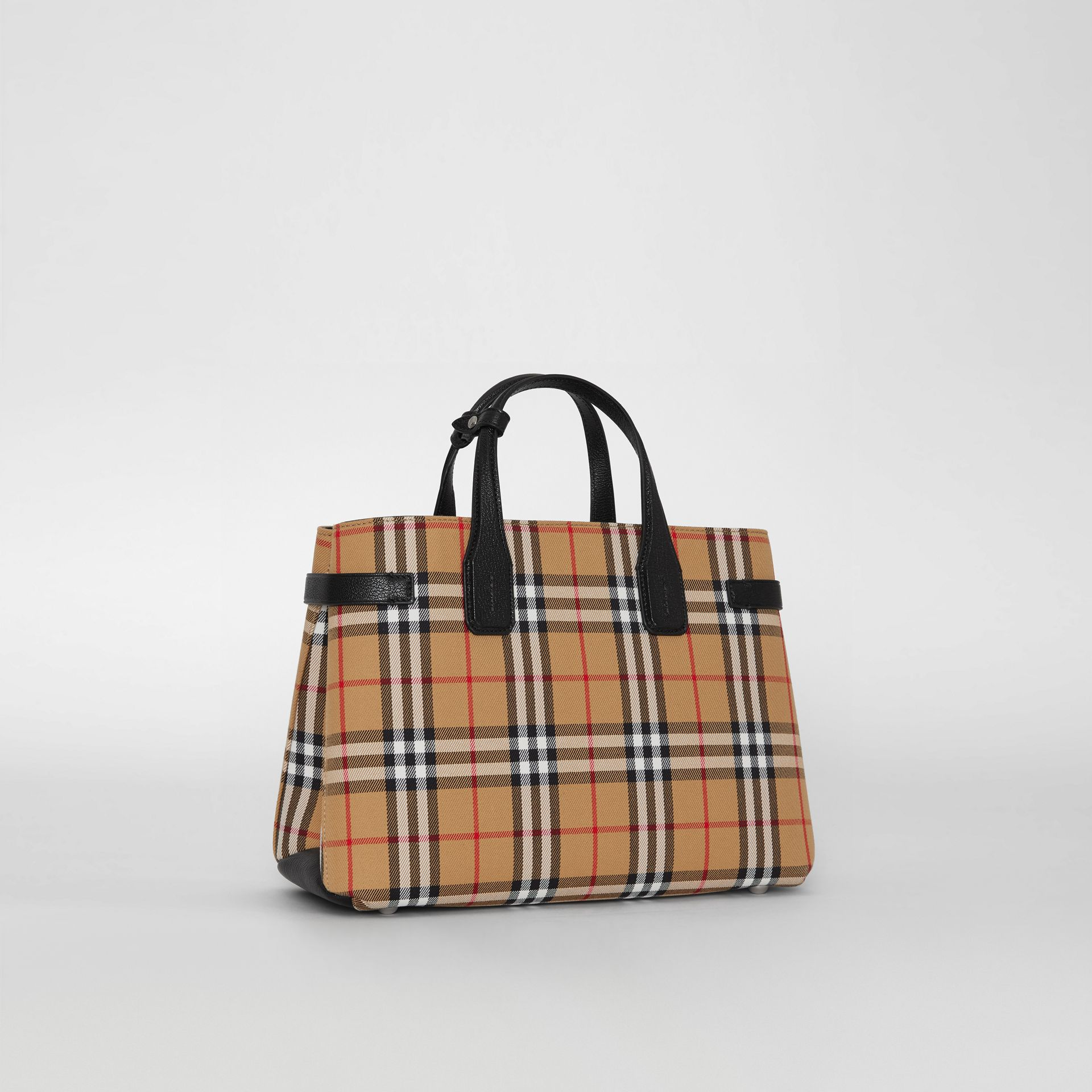 The Banner media in pelle con motivo Vintage check (Nero) - Donna | Burberry - immagine della galleria 6