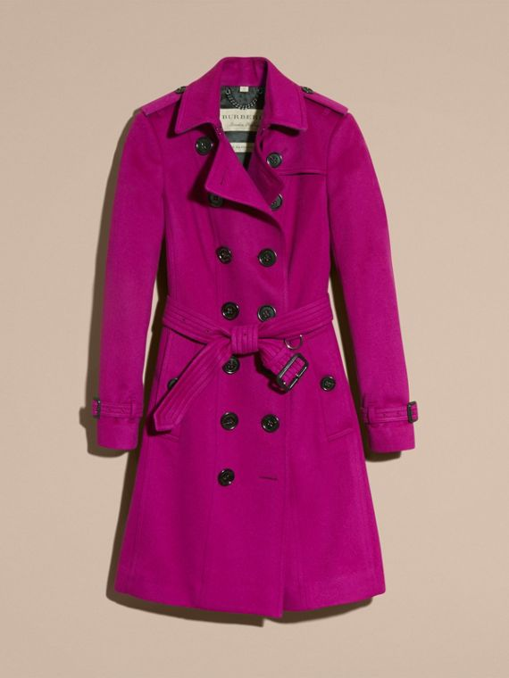 Sandringham Fit Cashmere Trench Coat Fuchsia - cell image 3