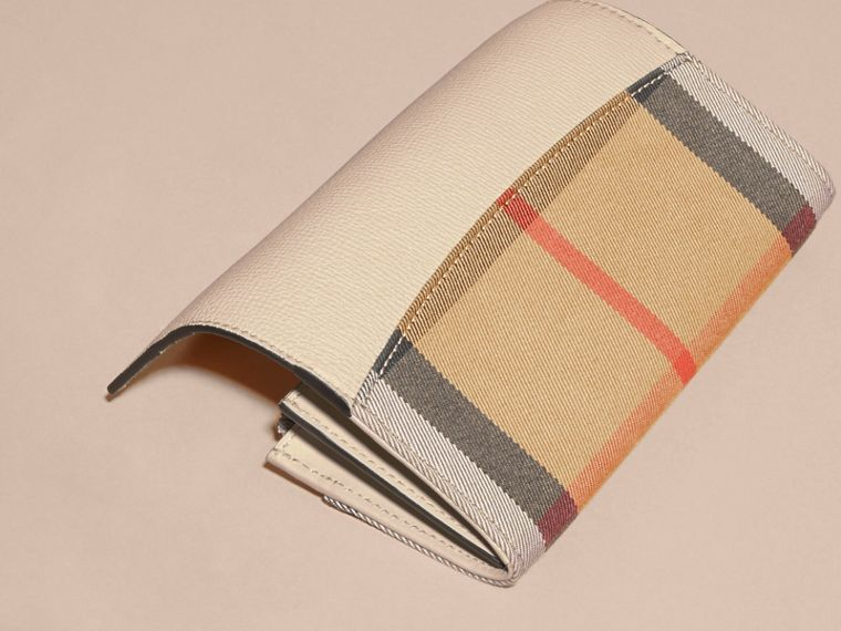 House Check And Leather Continental Wallet in Limestone - Women | Burberry Australia - cell image 1