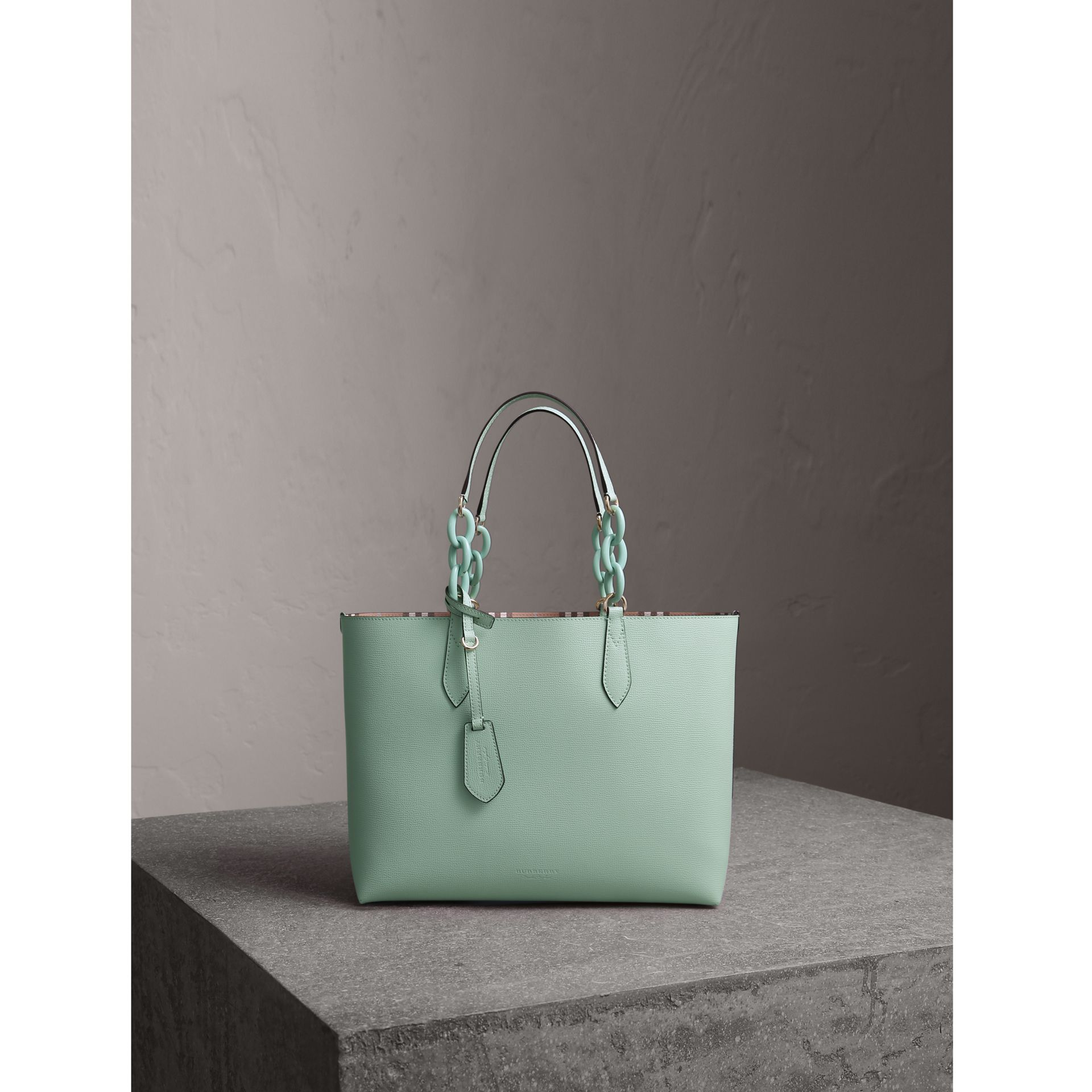 The Small Reversible Tote with Resin Chain in Pale Opal - Women | Burberry Canada - gallery image 1