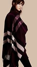 Poncho en cachemire et laine à motif check