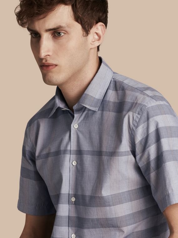 Short-sleeved Check Cotton Shirt Light Blue