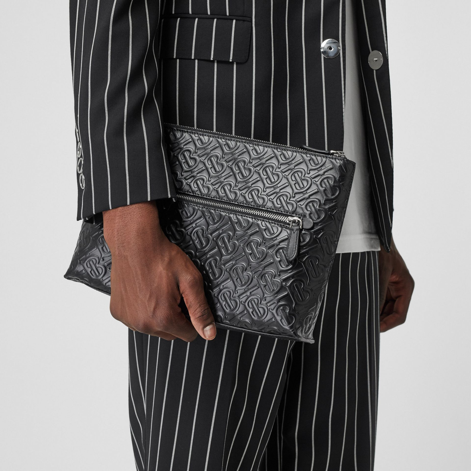 Monogram Leather Zip Pouch in Black - Men | Burberry Canada - gallery image 2