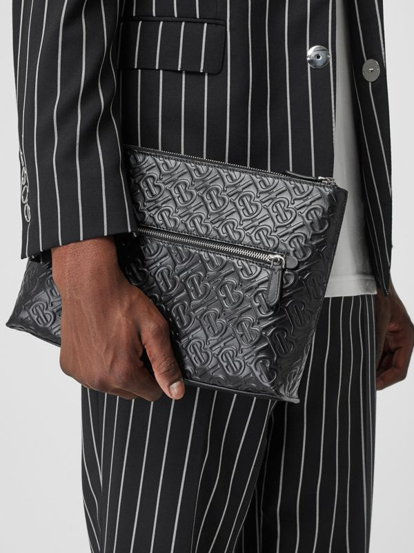 Monogram Leather Zip Pouch in Black - Men | Burberry Canada - cell image 2