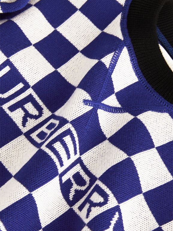 Chequer Jacquard Merino Wool Sweater in Cobalt Blue | Burberry United Kingdom - cell image 1
