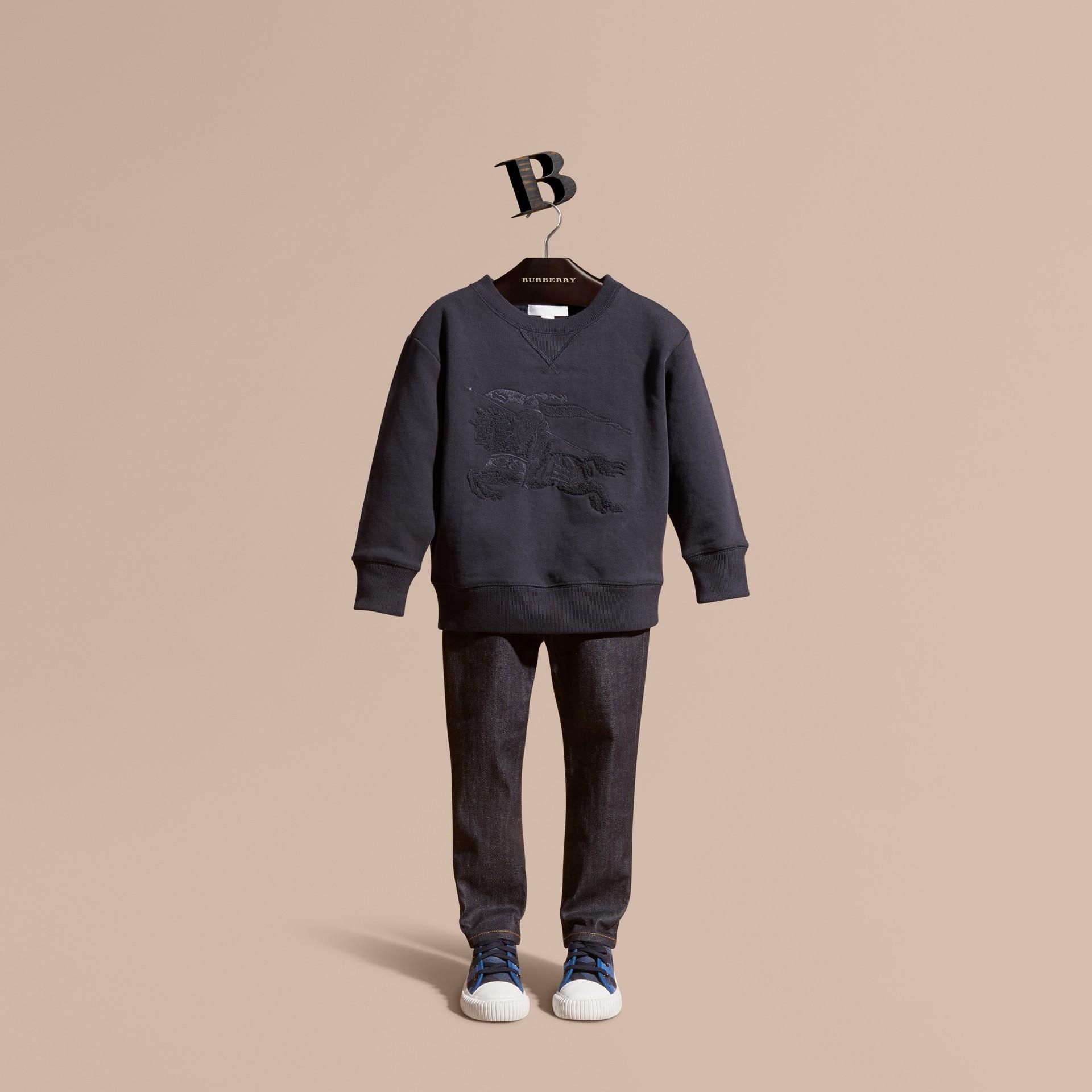 Dark navy Equestrian Knight Detail Cotton Sweatshirt Dark Navy - gallery image 1