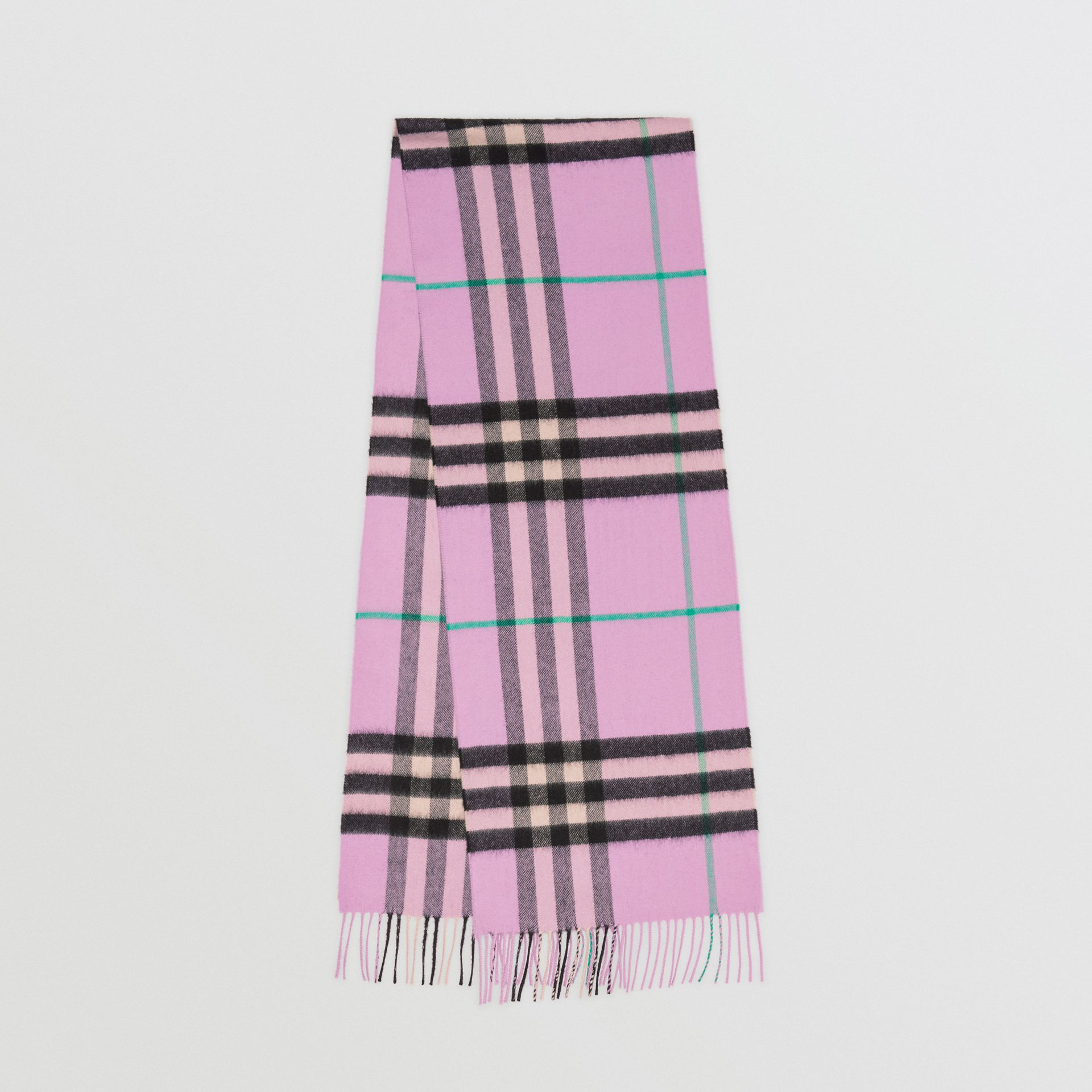 The Classic Check Cashmere Scarf in Pale Heather | Burberry United Kingdom - gallery image 0