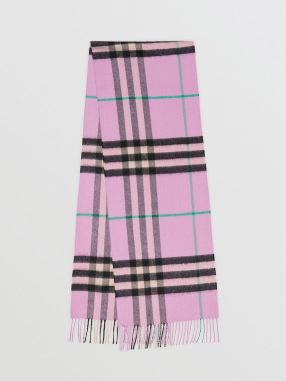 The Classic Check Cashmere Scarf in Pale Heather