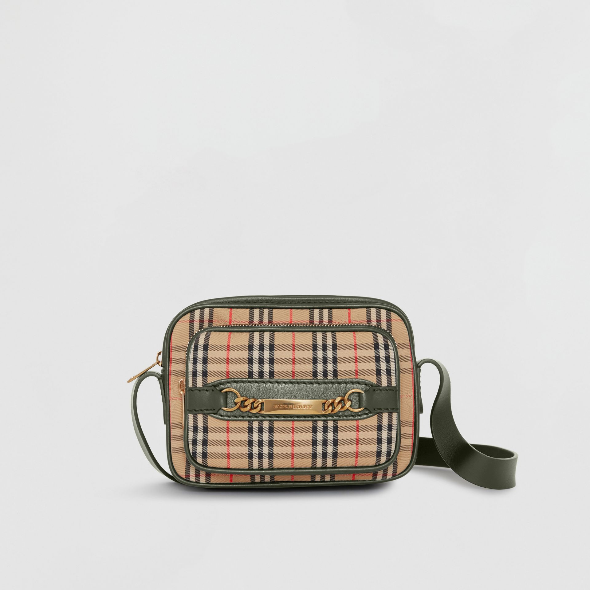The 1983 Check Link Camera Bag in Dark Forest Green - Men | Burberry Canada - gallery image 0