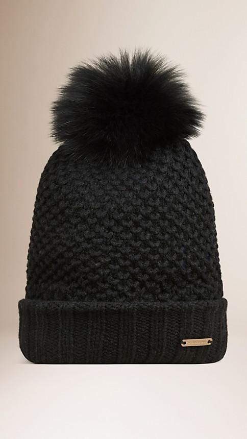 Black Fur Pom-Pom Beanie - Image 1
