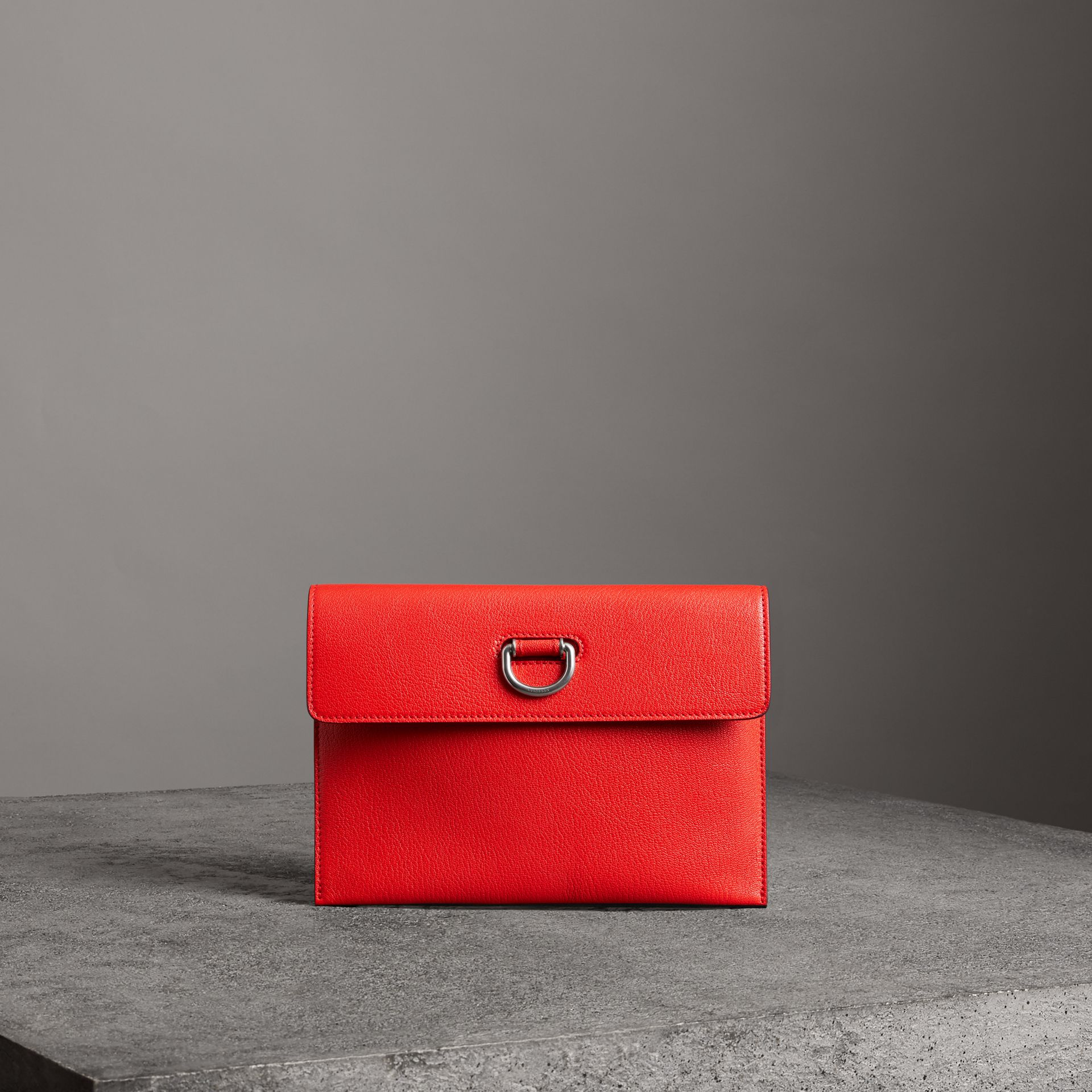 D-ring Leather Pouch with Zip Coin Case in Bright Red - Women | Burberry United States - gallery image 0