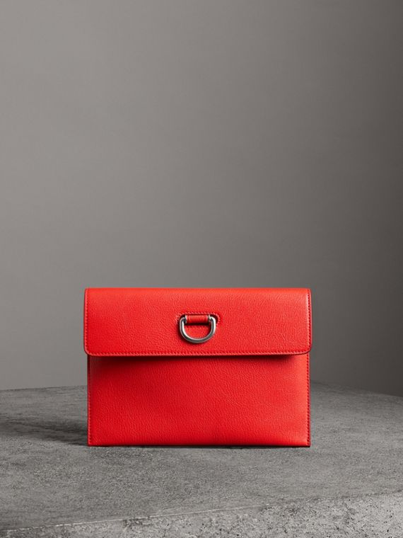 D-ring Leather Pouch with Zip Coin Case in Bright Red