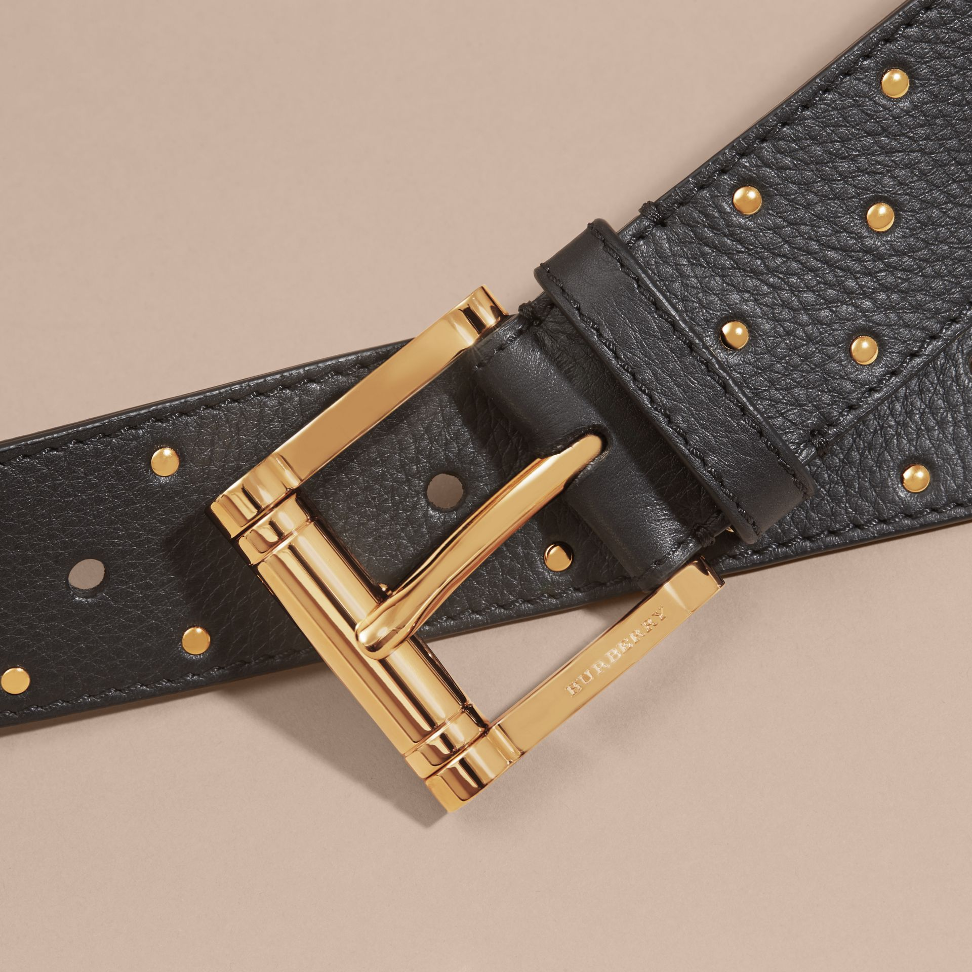 Black Riveted Grainy Leather Belt - gallery image 2