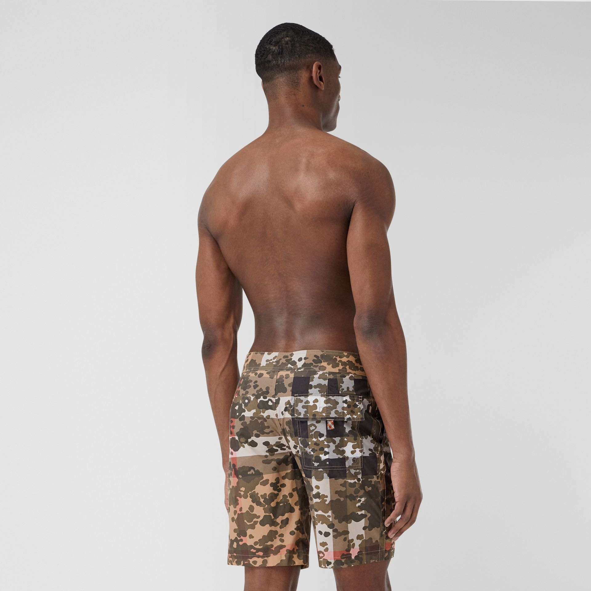 Camouflage Check Swim Shorts in Archive Beige | Burberry - gallery image 1