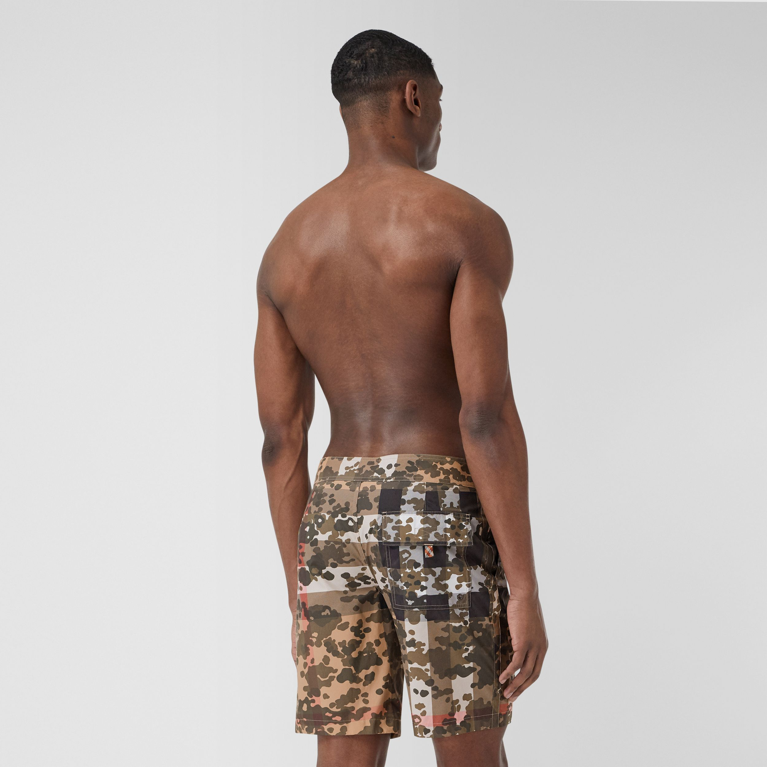 Camouflage Check Swim Shorts in Archive Beige - Men | Burberry - 2