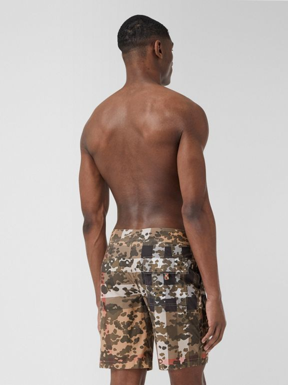 Camouflage Check Swim Shorts in Archive Beige | Burberry - cell image 1