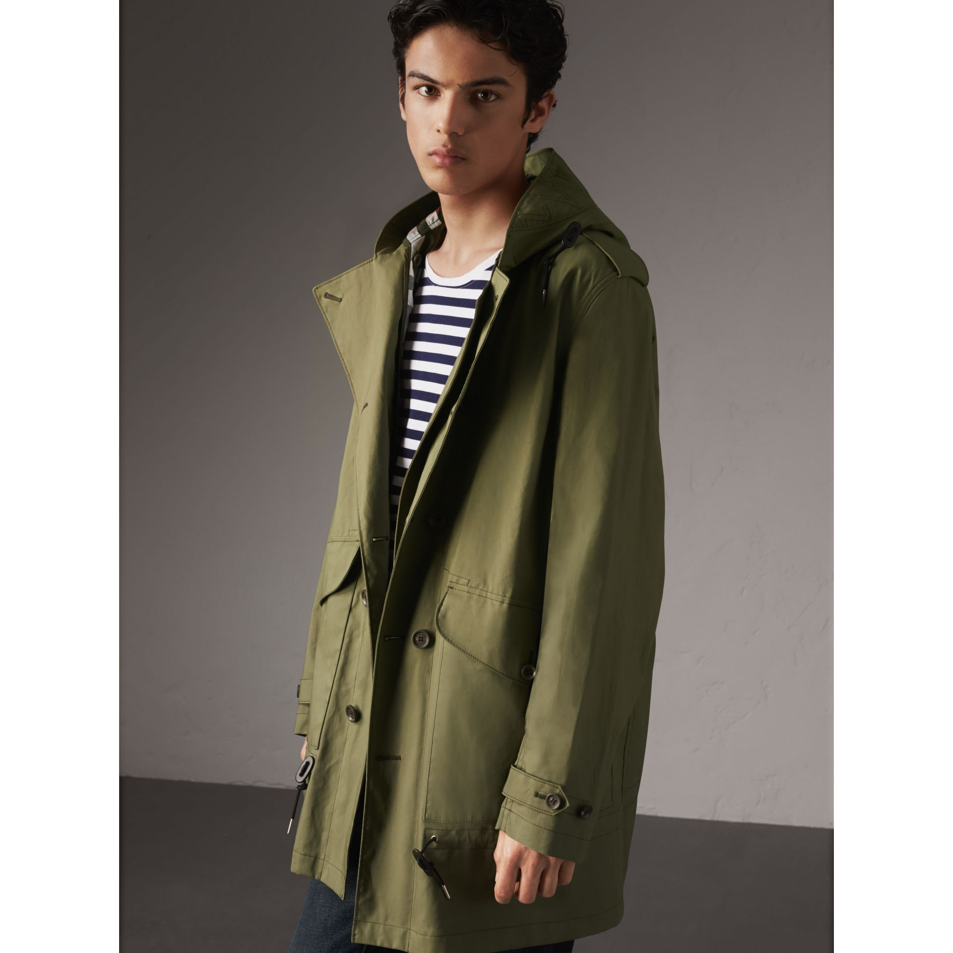 Bonded Cotton Parka with Detachable Warmer in Khaki Green - Men | Burberry - gallery image 6