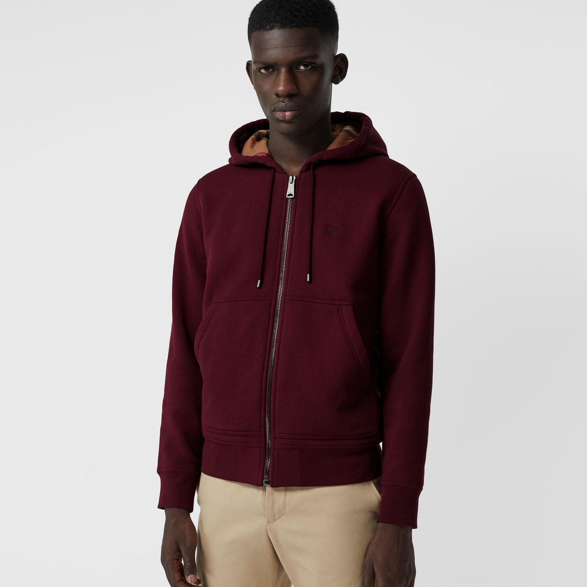 Check Detail Jersey Hooded Top in Dark Crimson - Men | Burberry Canada - gallery image 4